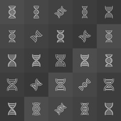 DNA helix or spiral vector concept icons