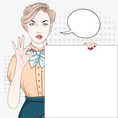 Pop Art Vintage advertising poster comic girl in blouse holds a white banner and hand shows okay. Comic woman with speech bubble. Vector illustration