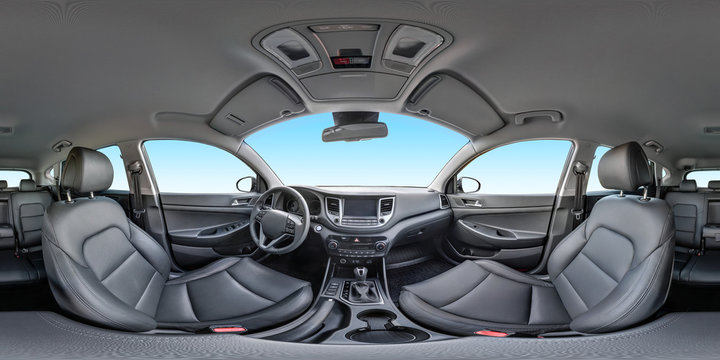 360 angle panorama view in interior of prestige modern car blue background. Full 360 by 180 degrees seamless equirectangular equidistant spherical panorama. Skybox as background for vr ar content