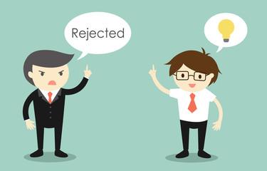 Business concept, Businessman's idea is rejected. Vector illustration