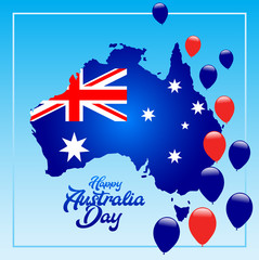 Happy Australia day Background. Map of Australia with flag background Vector illustration