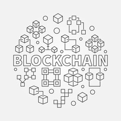 Blockchain round vector illustration in thin line style