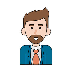 Businessman profile cartoon icon vector illustration graphic design