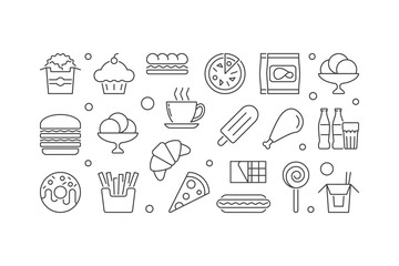 Fast food illustration. Vector unhealthy eating banner