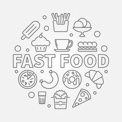 Fast food round symbol. Vector outline illustration