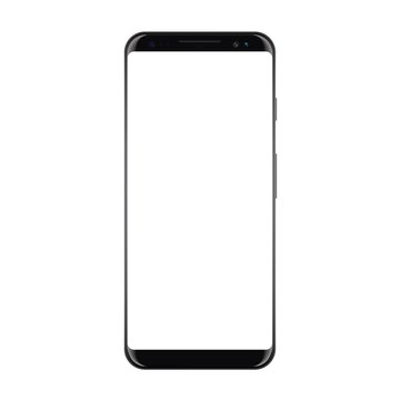 New High Detailed Realistic Smartphone Isolated on white Background. Display Front View. Frameless Device similar to galaxy s8 Mockup Separate Groups and Layers. Easily Editable Vector. EPS 10.
