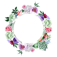 Bouquet flower wreath in a watercolor style. Full name of the plant: rose, hulthemia, rosa. Aquarelle wild flower for background, texture, wrapper pattern, frame or border.