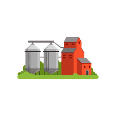 Agricultural silo towers and farm buildings, countryside life object vector Illustration
