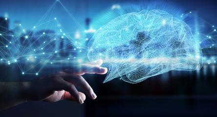 Businessman using digital x-ray human brain interface 3D rendering