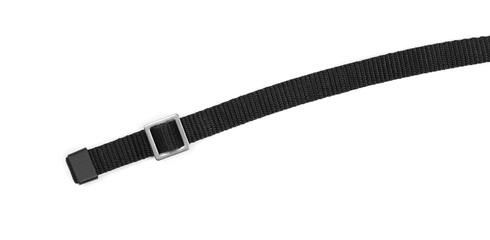 Black nylon belt, strap isolated on white background