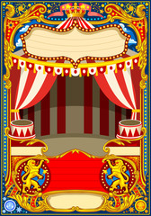 Circus poster or card theme. Vintage frame with circus tent for kids birthday party invitation or post. Quality template vector illustration