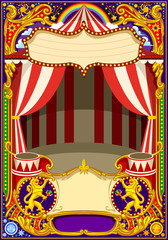 Circus cartoon poster theme. Vintage frame with circus tent for kids birthday party invitation or post. Quality template vector illustration