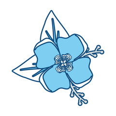 blue flower with leaves  design