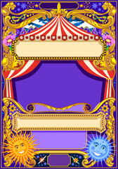 Circus background theme. Vintage frame with circus tent for kids birthday party invitation or post. Quality template vector illustration