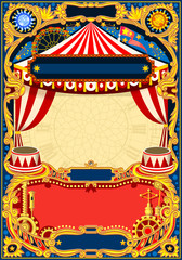 Circus editable frame. Vintage template with circus tent for kids birthday party invitation or post. Quality vector illustration