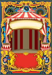 Circus poster theme. Vintage frame with circus tent for kids birthday party invitation or post. Quality template vector illustration