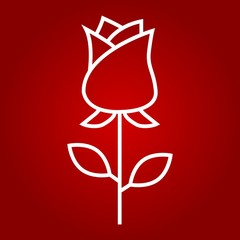 Rose flower line icon, valentines day and romantic