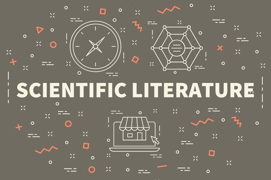 Conceptual business illustration with the words scientific literature