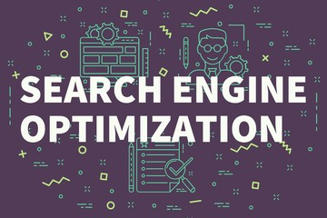 Conceptual business illustration with the words search engine optimization