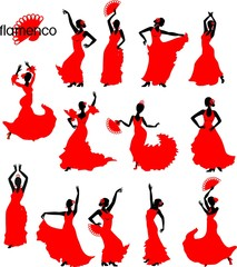Large set of silhouettes of flamenco dancers in red dresses
