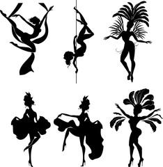 Set of silhouettes of dancers of erotic dances