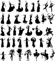 Big set of silhouettes of dancers