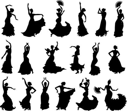 Large set of silhouettes of flamenco dancers