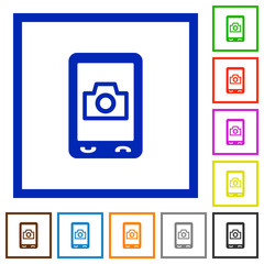Mobile photography flat framed icons