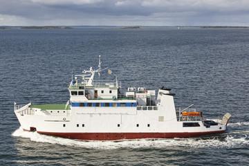 Cruise vessel on the baltic sea. Aland island coastline. Finland