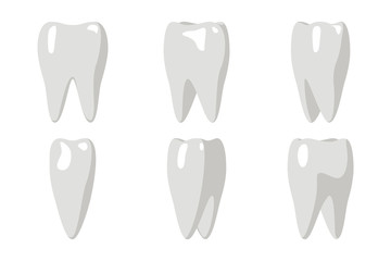 Cartoon Tooth Rotation Animation Frames 3d Stomatology Dental Poster Flat Design Isolated Icon Template Transperent Background Mock Up Vector Illustration