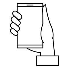 hand with smartphone device vector illustration design