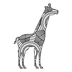 hand drawn for adult coloring pages with giraffe zentangle monochrome sketch vector illustration