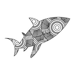 hand drawn for adult coloring pages with fish zentangle monochrome sketch vector illustration