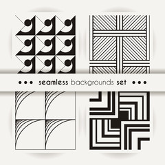 Set of seamless square patterns. Abstract stripes and spiral endless backgrounds