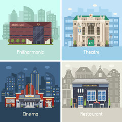 Entertainment city places set with public buildings scenes and concepts in flat design. Cafe restaurant, music theater, philharmonic hall and movie cinema on modern city backgrounds. Urban collection.
