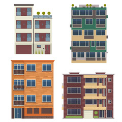 Modern block city apartment buildings for town constructor or real estate agency. Minimalist multistory living houses with balconies vector illustration in flat design. Bauhaus urban homes set.