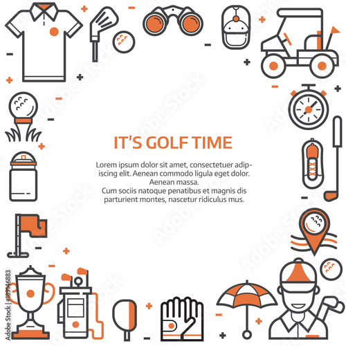 Golf time card or invitation template with copyspace in line art golf time card or invitation template with copyspace in line art style golf icons concept stopboris Choice Image