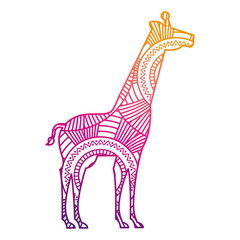 hand drawn for adult coloring pages with giraffe zentangle vector illustration color line gradient design