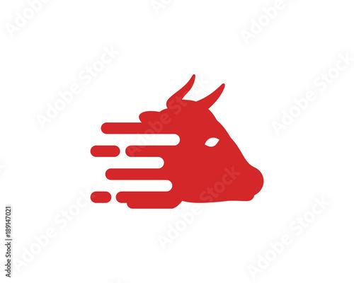 simple digital red bull head with horn symbol modern logo icon