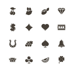 Slot Machine icons. Perfect black pictogram on white background. Flat simple vector icon.