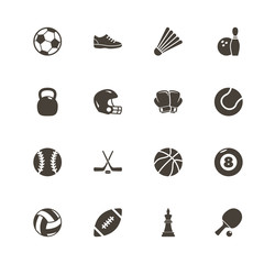 Sport Equipment icons. Perfect black pictogram on white background. Flat simple vector icon.