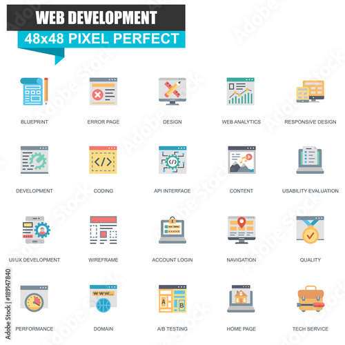 Modern flat web design and development icons set for website and modern flat web design and development icons set for website and mobile site and apps malvernweather Images