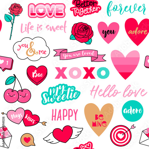 Cute Love Symbol Elements Seamless Pattern Background For