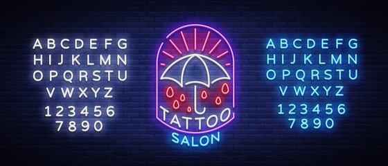 Tattoo salon logo in a neon style. Neon sign, emblem, umbrella symbol, light billboards, neon bright advertising on tattoo theme, for tattoo salon, studio. Vector illustration. Editing text neon sign