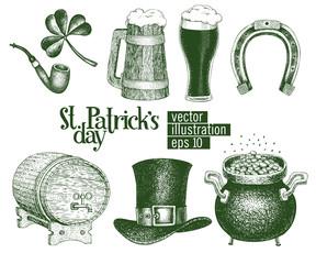 Hand drawn vector leprechaun hat, clover, beer mug, barrel, golden coin pot sketch set for St. Patrick's Day. Irish retro illustrations.