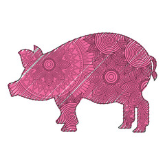hand drawn for adult coloring pages with pig zentangle  vector illustration