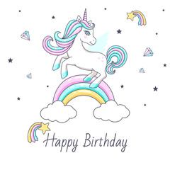 Happy birthday card with cute unicorn. Vector illustration