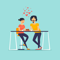February 14, couple in love. Flat vector illustration in cartoon style.