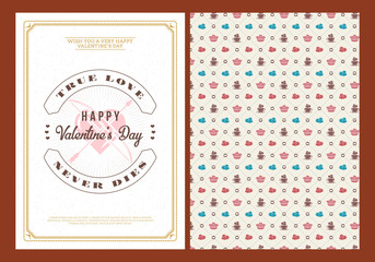 Happy Valentines Day typography greeting card. Vector design double sided template with seamless background and romantic signs