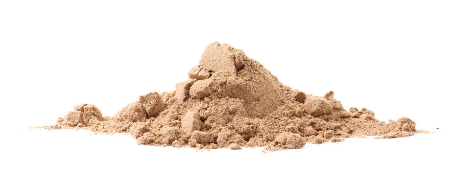 Pile of cocoa protein powder isolated